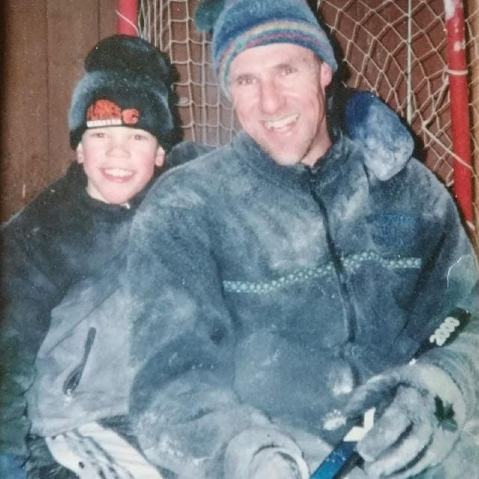 Young Taylor Hall spent his time between the rink and the backyard ice thanks to his dad.