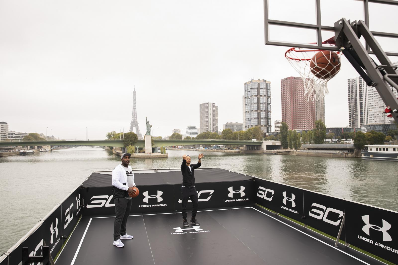 Stephen Curry takes on fellow Under Armour athlete and French judoka Teddy Riner while making a stop in Paris along his international tour