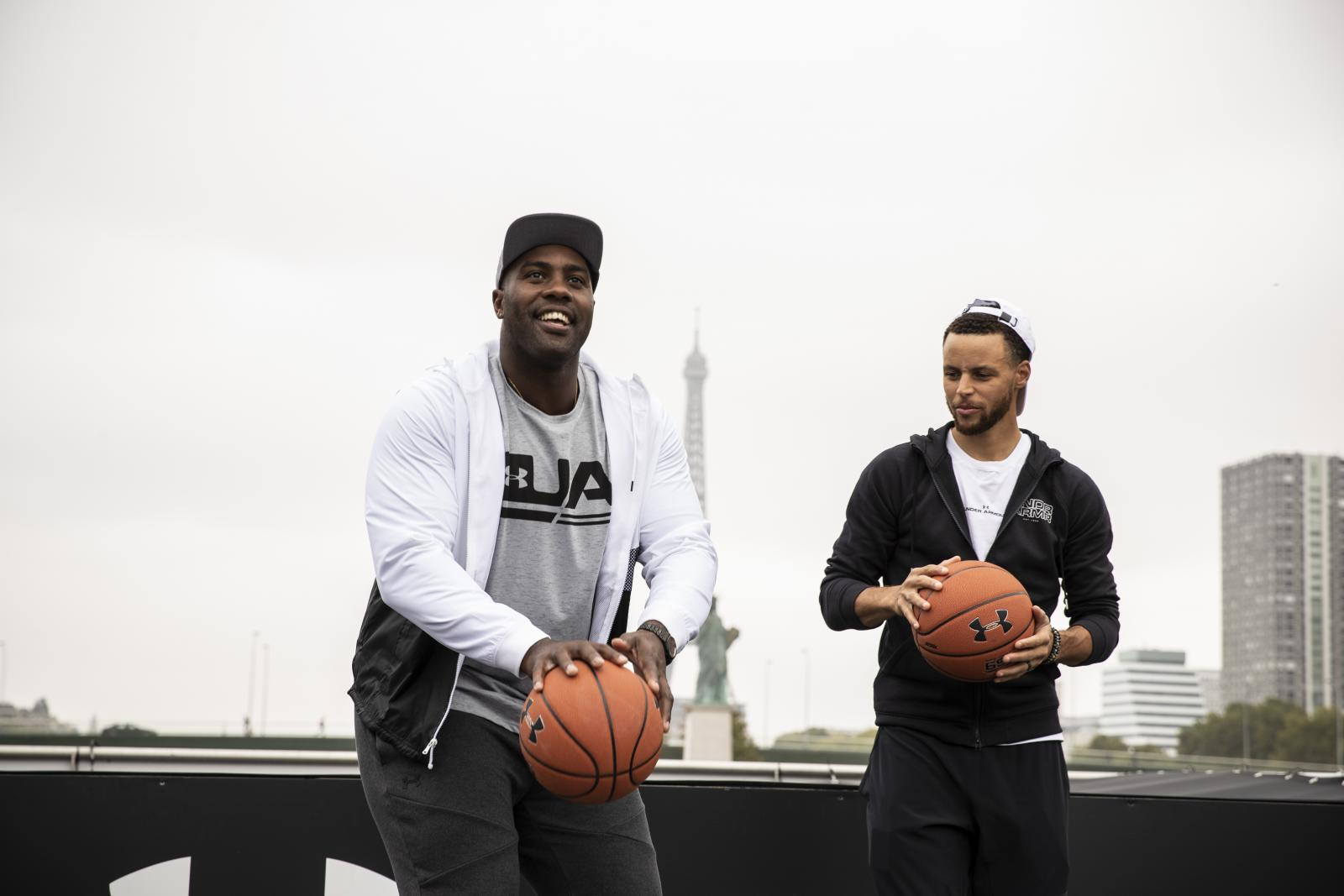 086d0ec0c9d9 Stephen Curry takes on fellow Under Armour athlete and French judoka Teddy  Riner while making a stop in Paris along his international tour