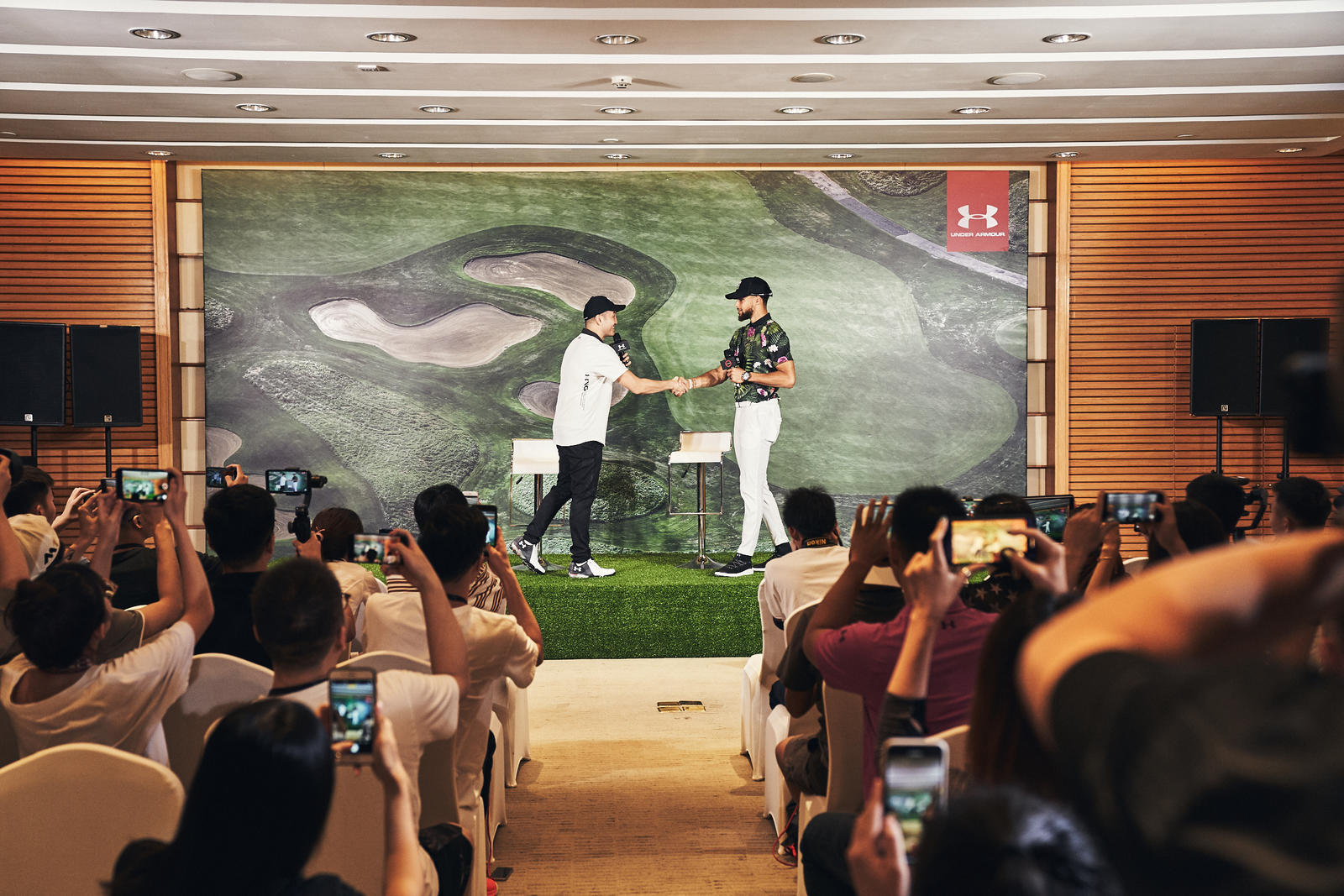 Stephen Curry debuts his Range Unlimited Golf line at the world's largest course, Mission Hills Resort in Shenzhen, China
