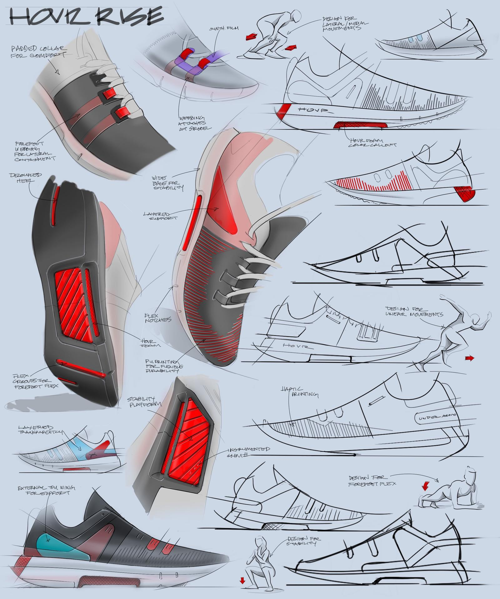 The above image is a sketch page from the UA HOVR Rise designer, Evan Lok, during the ideation period for the versatile training shoe