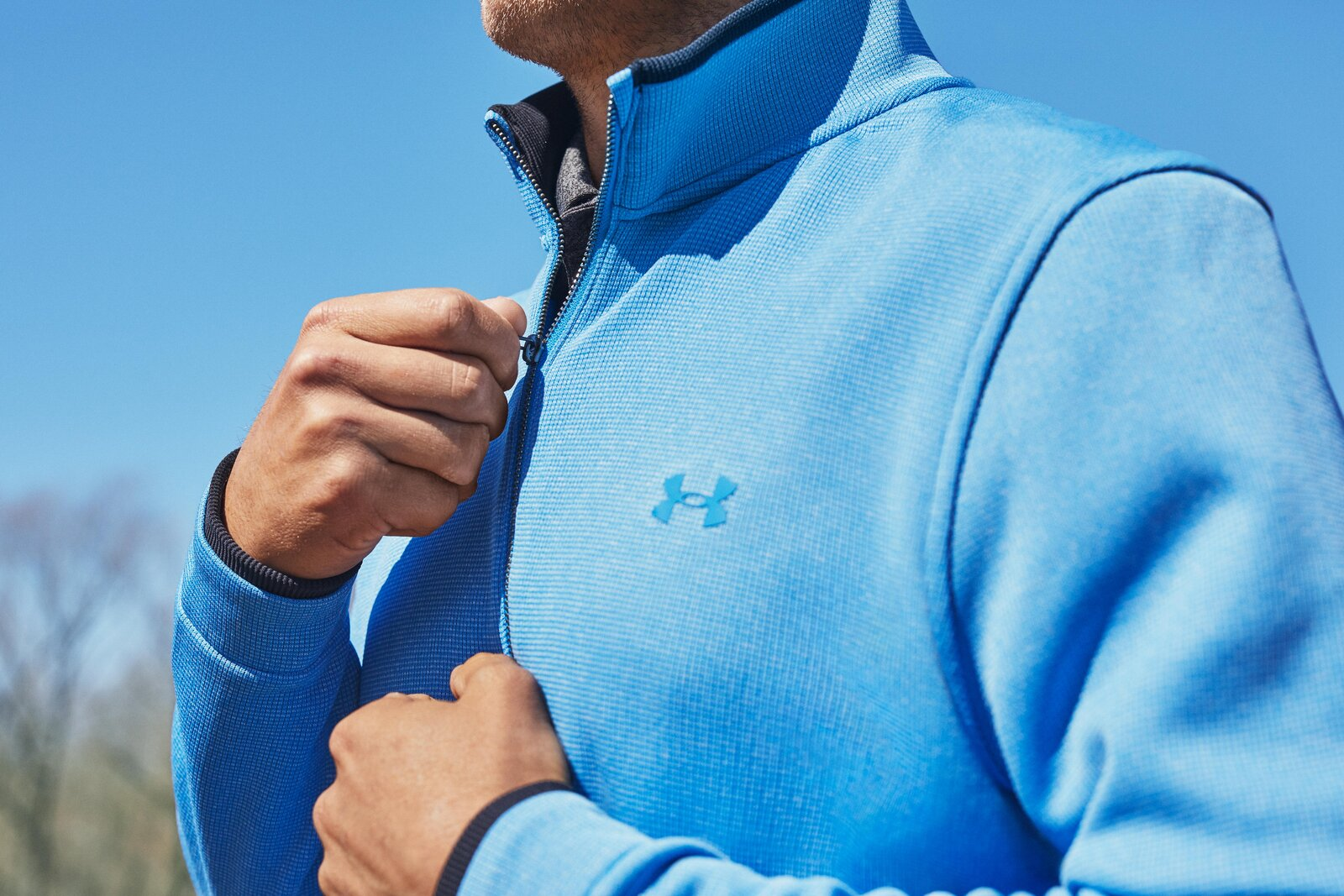 Updated SweaterFleece fabric has soft, brushed interior with added stretch for complete mobility