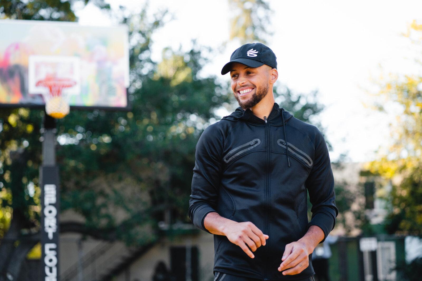 Stephen and Curry Brand reveal the newly refurbished basketball court at the Manzanita Recreation Center in Oakland, November 2020.
