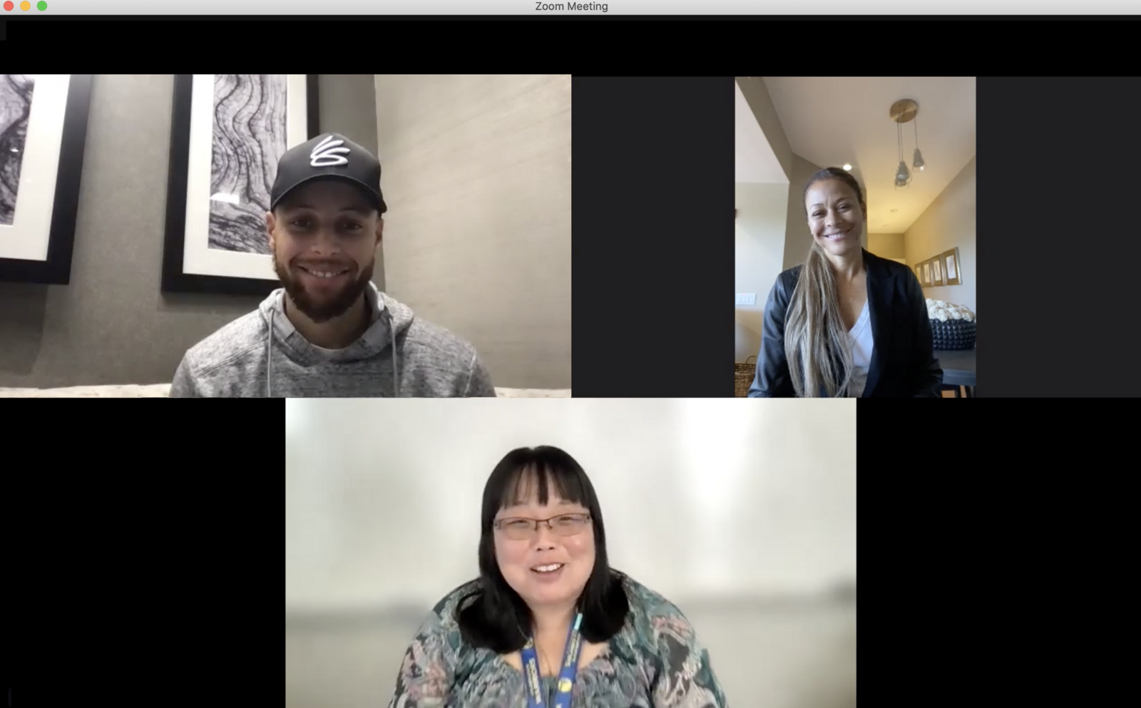 Stephen Curry (left), Sonya Curry (right), and Ann Park (bottom) on a video meeting together during Teacher Appreciation Week.