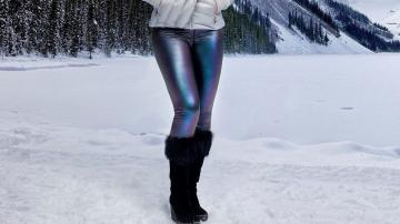 Leggings featuring a unique iridescent print and a 4-way stretch fabric. A testament to will and the site of Lindsey's severe injury in 2006