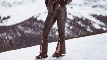 A ski pant with a leather-like finish and a zippered flare. Bormio-Santa Caterina, Italy is where Lindsey competed in her first World's Championship in 2005