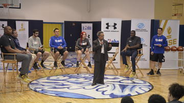 Mayor Lori Lightfoot offers remarks at the Building Bridges Through Basketball event in Chicago